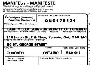 Example of Completed waste manifest with proper mailing address